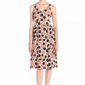 Ann Klein Multi Dot Print Double V Pleated Dress